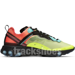 gold elements Coupons - React Element 87 Light Orewood Brown Volt Racer Running Shoes High Quality Men Women Designers Blue Solar Red Sail Athletic Shoes With Box