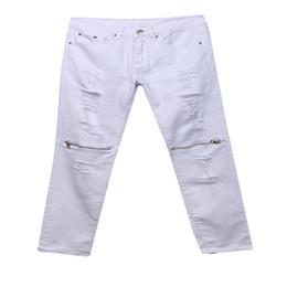 Silberne hose capris online-Neue rote weiße schwarze silberne zerrissene Denim-Hosen-Knie-Loch-Reißverschluss-Radfahrer-Jeans nehmen dünne zerstörte heftige Jeanshosen-Baumwolljeans SH190805 ab