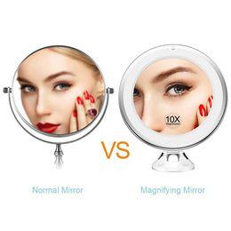 подставка для освещения Скидка 1*LED  Mirror 10X Magnifying Mirror 360 Rotation Adjustable Stand Desk Cosmetic with Light for Make Up