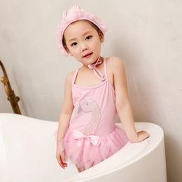 traje de baño coreano azul Rebajas Traje de baño para niñas Traje de baño traje de baño traje de baño gorro de natación Bordado de lentejuelas de una pieza bebé niña traje de baño Ropa de baño para niños