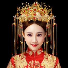 Pelo chino de la novia de la boda online-T1002 Nuevo patrón de sombreros de novia Phoenix Coronet Estilo chino Accesorios para el cabello de la boda Borlas Step Shake Nupcial Crown Earrings