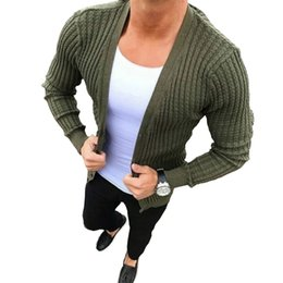 cotton knit cardigan plus size Coupons - Men's Slim Knitted Cardigan Sweaters 2019 New Autumn Men Casual Plus Size Cotton Sweater Fashion Sexy Green Knitwear Coat M-3XL