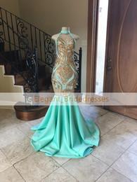 Canada 2019 élégantes robes de soirée de bal de sirène de menthe verte col haut piqué haut sans manche Offre