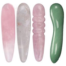 Massages de baguette en Ligne-Baguette de massage en cristal de quartz naturel, baguette de massage en obsidienne, baguette de quartz Rose grand bâton de cristal de guérison Yoni comme cadeau des femmes