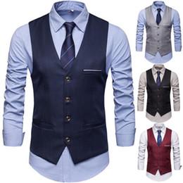 2019 Vests For Men Slim Fit Men Suit Vest Male Waistcoats Casual Sport Baseball Sleeveless Formal Business Jackets Veste Homme от Поставщики оптовый торговец теплой курткой