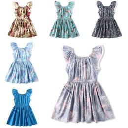 2019 flamingo kleidung Mädchen Blumendruck Kleid 11 Design Ärmellose Baumwolle Cartoon Flamingo Blumendruck Kleid Kinder Designer Kleidung Mädchen Outfits 6M-12T 04