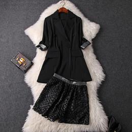 ab172b8d1dd8 2019 giacche nere di paillettes per le donne Giacca da donna sexy nero  giacca doppio petto