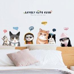 2019 materiais de arte para crianças 3d Vivid encantador da família de gatos adesivos de parede material PVC Cartoon Animals Wall Art for Kids quarto do bebê decoração do quarto da porta