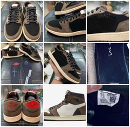 Обувь для баскетбола коричневого цвета онлайн-2019 Аутентичные Travis 1 Low OG SP TS CQ4277-001 1с Коричневые Замшевые Черные Баскетбольные кроссовки Спортивные Кроссовки С Оригинальной Коробкой