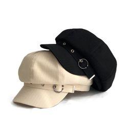 Baseball Cap Black Spring Linen Three-Dimensional Navy Hat Female British Korean Version of The Wild Spring and Summer Duck Tongue Octagonal Beret