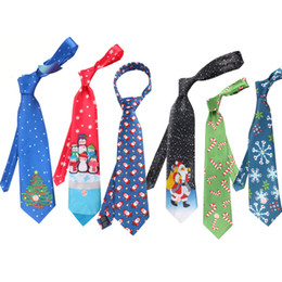 2019 legami di natale Christmas Neck Tie Fashion Babbo Natale Pupazzo di neve Print Party Dress Up Tie 28 colori Xmas Ties Free DHL 1155 sconti legami di natale
