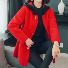 abrigo de visón azul Rebajas Mujer imitado Mink lana chaqueta con capucha principios de otoño invierno remiendo de paño grueso y suave de la felpa de la capilla abrigos Mujeres azul blanco rojo del calentamiento de abrigo
