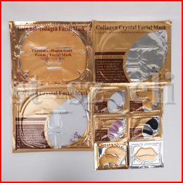 Goldene augenmaske online-Gesichtsmasken Kristallkollagen Goldpuder Augenmaske Goldene Gesichtslippenmaske Feuchtigkeit 3 stücke gesichtsmaske + 2 stücke augenmaske + 1 stück lippenmaske