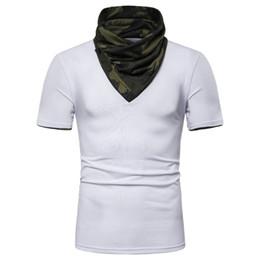 Männer kapuzenpulli online-Mens Camouflage Gefälschte Zwei Stücke T-shirt Mit Kapuze Hoher Kragen Kurzarm Herren Designer Tops Teenager Fashion Tees