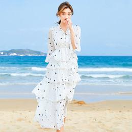 Robes d'été longues en Ligne-Robe élégante Style Chic Étoile Imprimer Longue Cou Cou Cou V Cou Dîner De Bal D'été La Mode D'été Robes Dames 1339