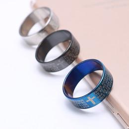 kreuzschmuck männer Rabatt 30psc / lot kreuz ring christus jesus bibel edelstahl ring band große größen 6-12 fit mann frauen schmuck geschenke