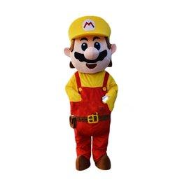 Супер костюм талисмана онлайн-Новый Взрослый Размер Super Mario Костюм Талисмана Необычные Платья Прекрасный Братья Костюм для Хэллоуина День Рождения событие