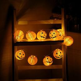 luci della stringa della zucca di halloween Sconti 1 Set Pumpkin 10 LED String Lights Luci per decorazioni di Halloween Warm White Halloween Pumpkin Lights Decorazione per la casa