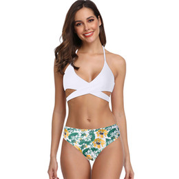women bikini bohemia Promo Codes - Women Sexy Boho Cross Print Swimwear two pieces Beachwear Siamese Swimsuit Bikini Set Bohemia hight Waist biquinis feminino