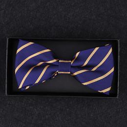 Bowtie giallo mens online-Bernoulli Mens di lusso Royal Blue Yellow Striped Bows Tie Bowtie regolabile per la festa nuziale uomo con scatola regalo B-025