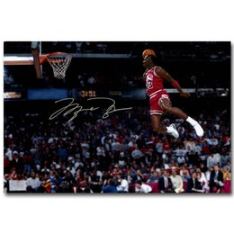 2019 basketballdruckgewebe NICOLESHENTING Michael Dunks Basketball-Kunst-Silk Gewebe-Plakat-Druck Sport Bild für Raumwanddekoration 059 rabatt basketballdruckgewebe