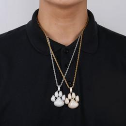 niedliche mädchen-goldketten Rabatt Personalisierte 18 Karat vergoldete volle Zirkonia niedlichen Hund Fußabdrücke Anhänger Halskette Twist Kette Hip Hop Schmuck Geschenke für Jungen und Mädchen