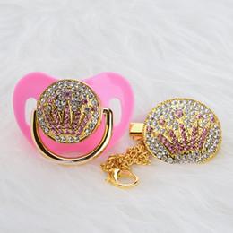 Ciucci rosa online-Bling Bling corona rosa strass bambino ciuccio / capezzoli / manichino / cocka / chupeta regalo del bambino babyshower Apcg