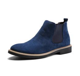 2019 moda britânica Homens de couro genuíno tornozelo botas de camurça de vaca botas para os homens sapatos de salto plana deslizamento estilo britânico em sapatos tendência da Inglaterra zy4701 desconto moda britânica