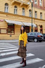 Feutre imprimé léopard en Ligne-Hiver 2018 Nouveau Robe mi-longue à imprimé léopard femme Feeling Wild