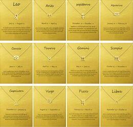 tierkreis schmuck virgo Rabatt Mode kein dogeared logo mit karte das tierkreiszeichen vergoldet leo / widder / virgo anhänger kette halskette choker schlüsselbein schmuck geschenk weiblich
