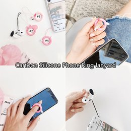 lanyard usb flash Promo Codes - Cute Cartoon Design Lanyards Finger Ring Short Rope For iPhone X Xs Xiaomi Huawei Keys Accessories Camera USB Flash Drives