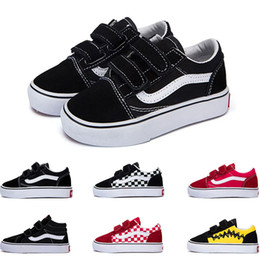 shoes kids 22 Promo Codes - 2019 Designer Original old skool sk8 hi kids shoes boy girl baby shoes canvas sneakers Strawberry fashion skate casual shoes size 22-35