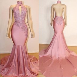 world dresses Coupons - High Neck Backless Miss World Prom Dresses 2019 Real Lace Appliques Beads Sequins Satin Cheap Mermaid Evening Gowns
