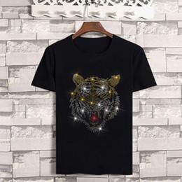2019 roupas de diamante 19ss tigre cabeça camisetas para homens casuais diamante quente de algodão mens designer t-shirt de verão hip hop homens roupas desconto roupas de diamante