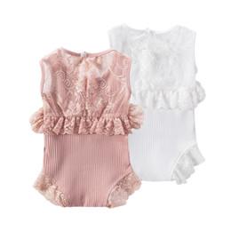 Everweekend Infantil Recién Nacido de Encaje Patchwork Mamelucos Ins Venta Caliente Blanco Color Rosa Verano Niños Encantadores Nueva Romper ropa desde fabricantes