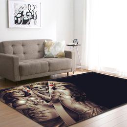 2019 tapetes de tamanho de sala Personalidade 3D Crânio Tapete Flanela De Veludo De Espuma De Memória de Maior Tamanho Tapete Crianças / Bebê / Tapetes para Tapetes de Área de Sala de estar desconto tapetes de tamanho de sala