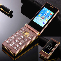 senioren handys Rabatt Original Gold Flip Dual Screen Handy Metall Körper Senior Luxus Dual Sim Karte Kamera MP3 MP4 3.0 Zoll Touchscreen Handy