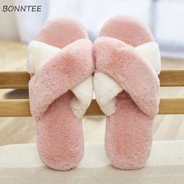 ce23677b2da Winter Slippers Women Cute Warm Faux Rabbit Fur Cross Plush Home Slipper  Korean Womens Simple Soft Leisure Flat with Floor Shoes