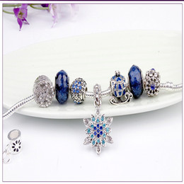 Ciondolo fiocco di neve carrozza zucca stelle blu braccialetto fatto a mano perle di vetro gioielli con perline braccialetto in argento sterling 925 cheap beaded snowflake beads da perline di fiocco di perline fornitori