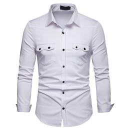 camisas de bolso duplo homens Desconto Marca Men shirt 2019 de Moda de Nova Duplo Projeto do bolso do vestido camisa manga comprida Men Slim Fit Casual Sociais Shirts Roupas Masculinas