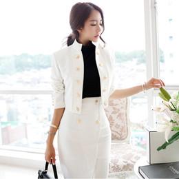 abrigo con falda de doble botonadura Rebajas Nueva temperamento de las mujeres del cuello del soporte slim fit chaqueta de negocios + faldas de cintura alta trajes de abrigo cruzado conjunto 2pcs negro blanco