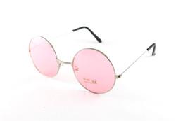 Blaue kreisentwürfe online-Vintage Runde Sonnenbrille Frauen Ozean Farbe Rosa Blau Objektiv Spiegel Sonnenbrille Weibliche Marke Design Metallrahmen Kreis Brille Oculos