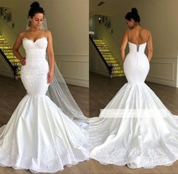 0bbf6a3ec0 bridal train dress purple Promo Codes - Elegant Spaghetti Mermaid Wedding  Dresses Lace Appliques Sweep Train