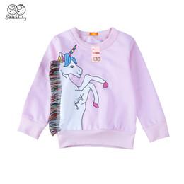 hoodies azuis do golfinho Desconto New Últimas desgaste das crianças da criança dos bebés Jumper Crianças roxo bonito unicórnio Aqueça camisola Hoodies roupa ocasional 1-7Years