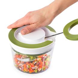 Кухонная нить онлайн-Quick Pull String Еда Измельчитель Овощей Спираль Slicer Мощный Ручной Ручной Чопер / Миксер / Блендер для Кухонный Нож Кухонный Инструмент