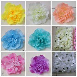 teste di peonia bianca Sconti Fiori artificiali per le decorazioni di nozze Sali di fiore di seta Dali Decorazione di festa Parete di fiore Sfondo di cerimonia nuziale Peonia bianca