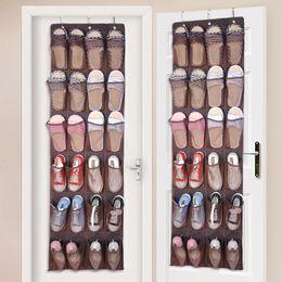 Porta zapatos que ahorra espacio online-24 bolsillos de nylon de tela Detrás de la puerta Estante de zapatos Zapatillas colgantes Estante de almacenamiento de uñas gratis Organizador Organizador Espacio Ahorre con 3 ganchos