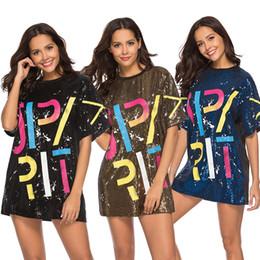 Camisas de manga comprida on-line-Mulheres Sequin T-Shirts Vestido de Lantejoulas Hip Hop Bling Tees carta impressão Tops de Grandes Dimensões Meia Manga O-pescoço Camisa Vestidos Soltos GGA1629