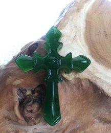 Cruz verde jade collar colgante online-Joyería fina Natural verde tallado a mano chino Hetian Jade The Cross colgante + collar de cuerda envío gratis