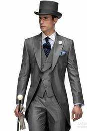 Trajes de abrigo de cola online-Por encargo 3 UNIDS Tail Coat Slim Fit Traje Nupcial Ocasión formal Trajes de caballero